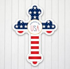 God Bless the USA Personalized Wall Cross by Paper so Pretty Gifts