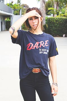 Vintage DARE D.A.R.E. black red and white short sleeve t shirt %100 cotton Alstyle Apparel and activeware retro size large paper thing by VELVETMETALVINTAGE on Etsy