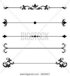 Picture or Photo of Ornamental line rules for page division or design accents or to create elegant Victorian style calligraphy scroll work frame or border for a vintage ad or wedding announcement ornament