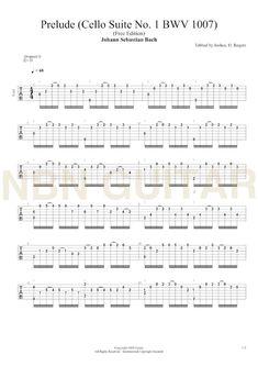Prelude BWV1007 - Free Classical Guitar Tabs — NBN Guitar Guitar Tabs Acoustic, Easy Guitar Tabs, Ukulele, Guitar Sheet Music, Guitar Songs, Best Guitar For Beginners, Trumpet Sheet Music, Sebastian Bach, Tiny Dancer