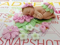 Baby Girl with Flower Outfit/BABY SHOWER/First Birthday/Cake Topper Supplies/Baby Girl Cake Topper/flower/baby Girl/Easter Topper