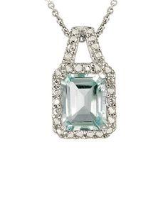 Silver Blue Topaz Diamond Pendant Necklace