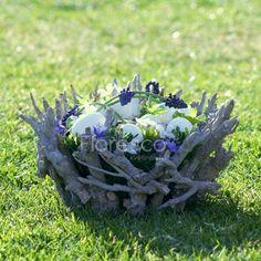velikonoční dekorace na stůl - mísa z přírodních dřívek s modřenci