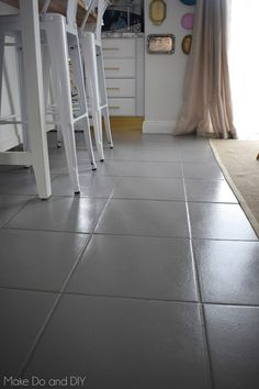 painted tile floor-six months later ~ Make Do and DIY - Painted Floor Tile Painting Ceramic Tile Floor, Tile Floor Diy, Painting Tile Floors, Grey Floor Tiles, Floor Decor, Painted Kitchen Floors, Grey Painted Kitchen, Painted Floors, Living Room Flooring