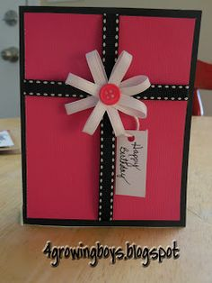 card idea, homemade cards birthday, homemade birthday cards, gift cards, homemad birthday, diy birthday cards, cardscrapbook idea, ribbon flower, birthday gifts