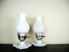 milk glass table lamps.
