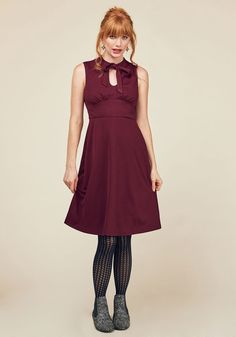 Archival Arrival A-Line Dress in Wine. Your files show that a classic A-line dress with a retro twist will take you far in the fashion world! #red #modcloth