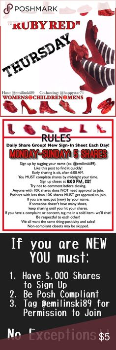 Thursday Shoe Group Shoes only Share Group! Share 5 listings from each closet signed up! Please finish shares by midnight your time. When you're done, sign out or the group will assume you didn't share. Have fun and make money! Shoes