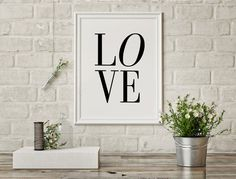 Typography Poster Word Art Wall Words Love by PrintableLifeDesigns