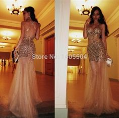 See through 2015 Party Dresses Beaded Sheath Sexy Beading Luxurious Pleated Rhinestone pleats split Beads crystals Prom Gowns