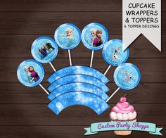 FROZEN BIRTHDAY PARTY Cupcake Wrappers and by CustomPartyShoppe