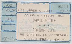 David Bowie at the Tacoma Dome, 21 May 1990 (ticket)