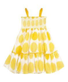 Loving this Yellow Jazz Sun Marigold Polka Dot Dress - Toddler & Girls on #zulily! #zulilyfinds