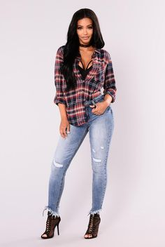 Sabrina Oversized Plaid Top - Navy/Red