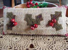 Rustic  Christmas Holly Jingle Bell Shelf Pillow Tuck