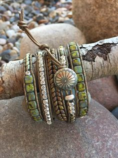 Debra Levens Jewelry Debra Levens Jewelry Design Spring green with silver five wrap leather bracelet