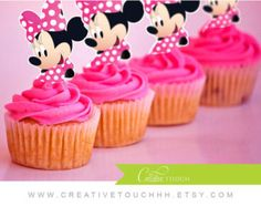 Minnie Mouse Cupcake Toppers Minnie Mouse Party by GreyMonet