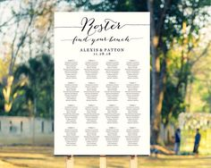 Roster Seating Chart Template in FOUR Sizes Football Theme