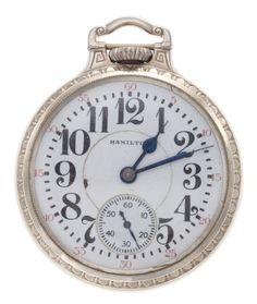 Hamilton 21 Jewel 992 Open Face Pocket Watch Case: gold filled, 16 size, plain screw back Dial: enamel, red fives, - Available at Tuesday Internet Watch and. Pocket Watches, Wrist Watches, Pendant Watch, Open Face, Gold Letters, Watch Case, Hamilton, 21st, Jewels