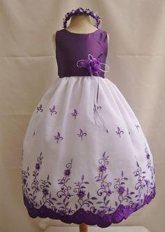 Flower Girl Dress PURPLE 072 Wedding Children Easter Bridesmaid Communion Toddler Red Purple Pink Light Lilac Fuchsia Burgundy Blue Sky on Etsy, $29.99