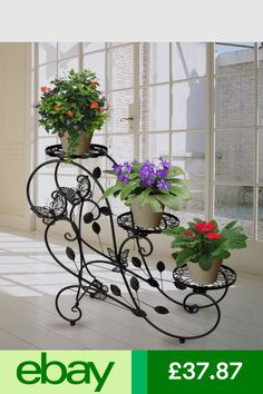 HLC Baskets, Pots & Window Boxes Garden & Patio #ebay Garden Plant Stand, Metal Plant Stand, Plant Stands, Lawn And Garden, Home And Garden, Iron Plant, Flower Stands, Iron Decor, Metal Flowers