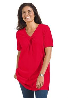Plus Size Top In Tunic Length, The Perfect Cotton V-Neck With Shirring (Classic Red,1X) Woman Within,http://www.amazon.com/dp/B00944HH5Y/ref=cm_sw_r_pi_dp_a.7asb0DE07JDCCT