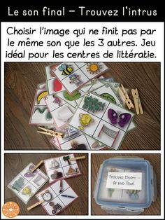 Le son final - trouvez l'intrus. Les élèves doivent identifier chaque image et choisir l'intrus (celle qui ne finit pas par le même son) avec une pince à linge. Centres / ateliers de littératie.