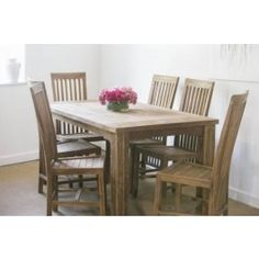 Reclaimed Teak Taplock Dining Table (1.6m x 90m) with 6 Santos Dining Chairs - Dining Set £1,110