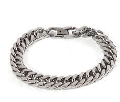 Classical Silver Tone Stainless Steel Link Chain Bracelet for Men - Stainless Steel Tapers Bracelets For Men, Silver Bracelets, Sterling Silver Necklaces, Silver Jewelry, Men's Jewelry Rings, Jewellery, Hammered Gold, Chains For Men, Stainless Steel Chain