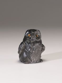 Fabergé firm   (Russian , 19th century) Owl  1801 - 1947  Obsidian, tigereyes, diamonds  3.5 x 2.5 in.  8.89 x 6.36 cm.