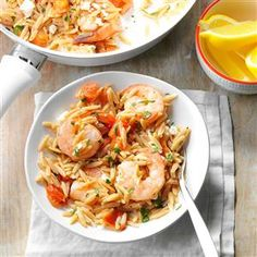 Shrimp Orzo with Feta Recipe -Moist, hearty and flavorful, this recipe is one of my favorites! Garlic and a splash of lemon add to the fresh taste and low-fat, low-cal cardiac benefits of shrimp. —Sarah Hummel, Moon Township, Pennsylvania