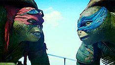 Raphael & Leonardo fist bump.
