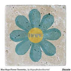 Blue Hope Flower Travertine Stone Coaster