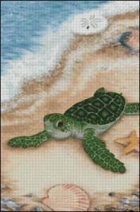 seashore+cross+stitch+patterns | Sea Shore Turtle **Cross Stitch Pattern**