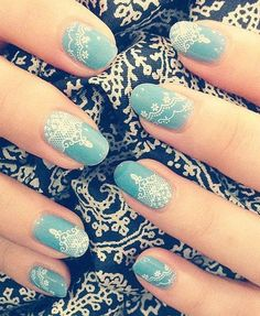 lace nail art – Lace Nail Designs - - New Ideas Lace Nail Design, Lace Nail Art, Lace Nails, Simple Wedding Nails, Wedding Nails Design, Blue Wedding Nails, Gorgeous Nails, Pretty Nails, Nailart