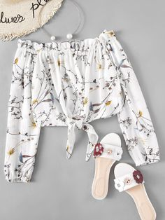 Shop Off Shoulder Floral Print Random Knot Hem Top online. ROMWE offers Off Shoulder Floral Print Random Knot Hem Top & more to fit your fashionable needs. Girls Fashion Clothes, Teen Fashion Outfits, Girl Fashion, Girl Outfits, Fashion Dresses, Clothes For Women, Spring Fashion, Crop Top Outfits, Cute Casual Outfits