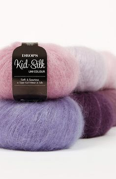 A luxurious, light brushed yarn in an exclusive mix of mohair super kid and mulberry silk, DROPS Kid-Silk is feather light, and will give garments a. Drops Karisma, Garnstudio Drops, Crochet With Cotton Yarn, Crochet Cord, Knitting Wool, Hand Knitting, Laine Drops, Drops Kid Silk, Drops Alpaca