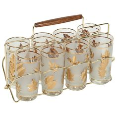 Set of Eight Mid-Century Libbey Glasses in Brass Cart Vintage Dishware, Vintage Bar, Vintage Dishes, Vintage Items, Vintage Pyrex, Mid Century Decor, Square, Glass Dishes, Retro