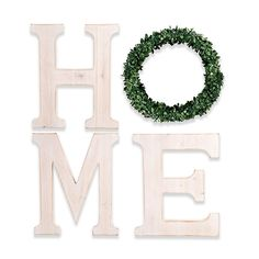 """Boasting rustic flair, the Bee & Willow Home """"Home Letters with Wreath"""" Wood Wall Art adds a charming look to your living space. Wooden letters spell out the word """"HOME"""" and the """"O"""" is designed with a faux wreath. Letter Wall Decor, Home Decor Wall Art, Wood Wall Art, Room Decor, Green Wreath, Decorative Signs, Botanical Wall Art, Wood Letters, Beach House Decor"""