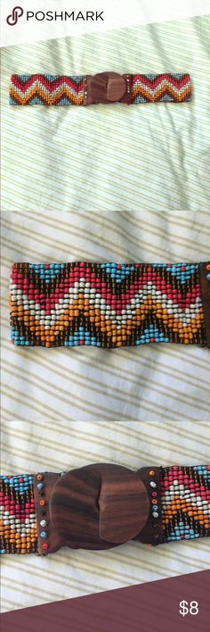 Cute boho waist belt Wonderful vibrant colors on this never worn boho wooden clasp belt Accessories Belts