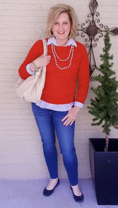 50 IS NOT OLD | AUDREY HEPBURN STYLE - FASHION OVER 50 | Sweater and Jeans | Button-up and a Pullover | Valentine's Day outfit | Fashion over 40 for the everyday woman