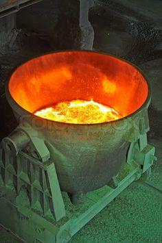 steel bucket to transport the molten metal