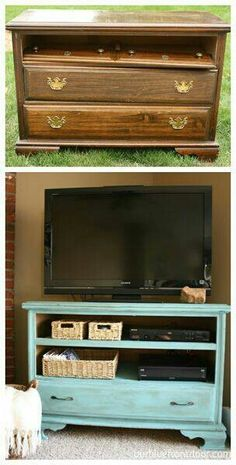 Dresser/Chest of Drawers into TV stand, would love some drawers to hide wires in. Again just use paint from house to keep it all together and spend less. - cheap