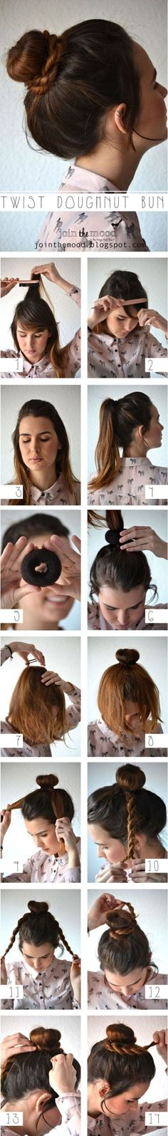 """Sock"" or ""doughnut"" bun with braids. This is the easiest tutorial I found for this. Especially since I have thick, layered hair with fly aways. I'll be practicing this tonight through Friday to perfect it got Saturday's plans!! (: Excited! Wish me luck!"