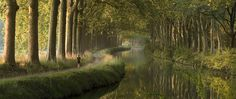 Canal du Midi in the morning (panorama)