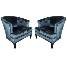 Elegant Pair of Curved-Back Armchairs in Sapphire Blue Velvet by Ward Bennett | From a unique collection of antique and modern armchairs at https://www.1stdibs.com/furniture/seating/armchairs/