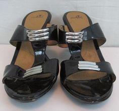 I Love Comfort Black Sandasl With 3.5 inch Heel Size 10M Manmade material Silver hanrdware No box