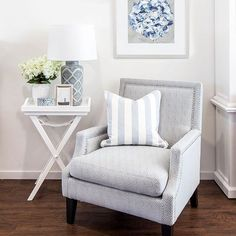 The prettiest picture featuring the Drew Armchair, Elegant Hydrangea print and Motif Lamp