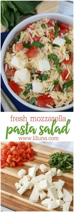 Fresh Mozzarella Pasta Salad I added onions!- a light and delicious salad filled with orzo, fresh mozzarella cubes, tomatoes and basil. Definitely a new favorite and so simple! Mozzarella Pasta, Fresh Mozzarella, Healthy Recipes, Vegetarian Recipes, Cooking Recipes, Cooking Tips, Summer Salads, Soup And Salad, I Love Food