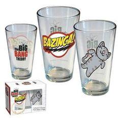 Set of 2 Big Bang Theory Bazinga & Soft Kitty Glasses 09853   LVgrind